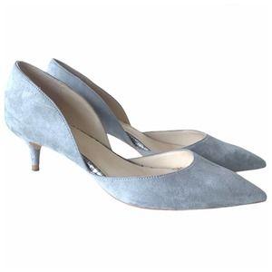 Zara Grey Suede Low Court Heels